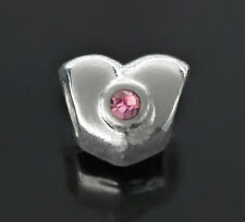 Silver Heart Spacer Beads 2PCs With Rhinestones For European Charm Bracelets