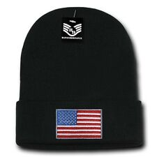 Black USA Flag Patch US American United States Patriotic Knit Skull Beanie Hat
