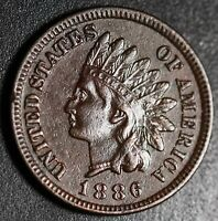 1886 INDIAN HEAD CENT - With LIBERTY & DIAMONDS - XF EF Details  - T1 Type 1