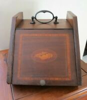 Antique Shell Inlaid Wooden Coal Hod ~ Scuttle Fireplace Ash Box Hearth w/Liner