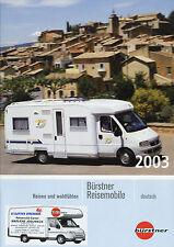 Prospekt Bürstner Reisemobile 2003 A T Modell A2 Doppelboden Iveco Broschüre