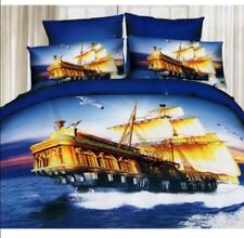 3D Bedsheet Modern Cruise Ships Theme Queen Fitted Sheet Cover w/Pillowcase