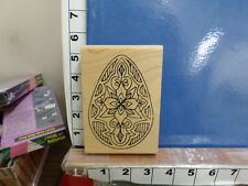holly berry house easter egg ornate background rubber stamp 29r