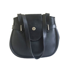CHRISTIAN DIOR VINTAGE BLACK LEATHER SHOULDER BAG