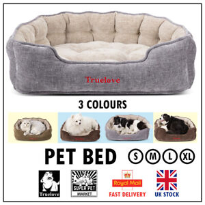 Dog Bed Truelove Pet Soft Sofa Oval Grey Brown Army Green S M L XL UK Washable