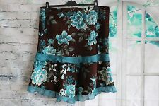 LADIES Cortefiel BROWN CORDUROY SKIRT WITH FLORAL PRINT - UK20 EU48
