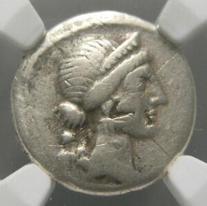 Julius Caesar AR Denarius (46-45 BC), Trophy of Gallic arms, Certified NGC