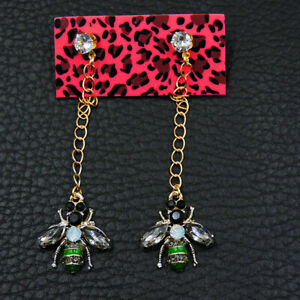 Betsey Johnson Fashion White/Green Enamel Cute Bee Insects Wonmen Earrings Gift