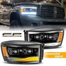 For 2006-2008 Ram 1500 2500 AlphaRex Alpha Black Sequential Projector Headlight