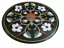 "24"" Black Marble Round Coffee Table Top Marquetry Inlay Home Outdoor Decor Gifts"