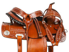 GAITED 14 15 16 CRYSTAL BARREL RACING WESTERN TRAIL LEATHER HORSE SADDLE TACK