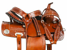 STUDDED WESTERN PLEASURE TRAIL BARREL RACING HORSE LEATHER SADDLE TACK 14 15 16