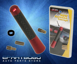 """Universal 76mm 3"""" Red Stubby By Carbon Fiber Short Screw On Type Radio Antenna"""