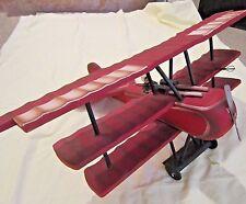 """Vintage Wood Folk Art Hand Carved Triplane Red Baron Fokker LARGE! 23"""" wingspan"""
