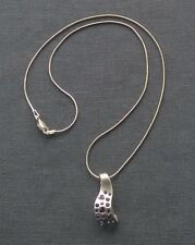 """STERLING SILVER HEAVY PENDANT LILAC LAVENDER STONES 18"""" SOLID 925"""