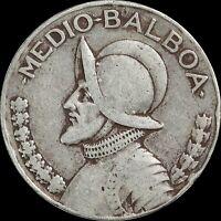1947 Panama 1/2 Medio Balboa, KM#12.1, Silver World Coin