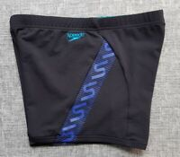 SPEEDO MENS Endurance+ Monogram Aquashort Black Royal Blue Size 14 M Brand NEW