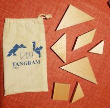 Tangram Holz hell i.Stoffbeutel (dieser mit Lagerspuren) nie gespielt