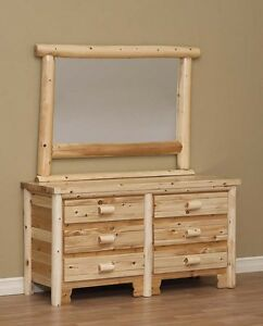 LOG DRESSER, 6 DRAWER WITH MIRROR, LOG FURNITURE, BEDROOM FURNITURE, RUSTIC