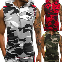 Mens Camouflage Vest Tank Tops Zip Up Hoodie Sleeveless T Shirts Muscle Gym Tee