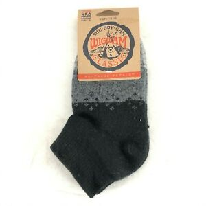 Wigwam Unisex Socks Ankle Quarter Wool Blend Gray Black W 6-10 M 5-9.5
