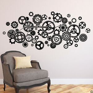 Steampunk Gears Wall Decal interior home decor, removable wall art K742