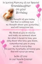 A* Child/Baby loving memory anniversary Graveside Card  Memorial Keepsake no b30