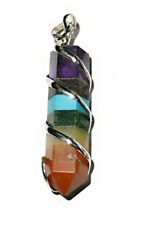 Seven 7 CHAKRA Gemstone Crystal Point Wrap Wrapped PENDANT Necklace Jewelry