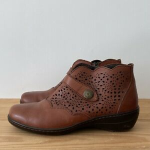 Loretta boots size 6 39 brown leather ankle flat comfort strap perforated