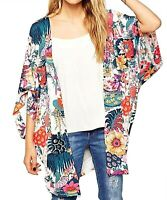 Relipop Sheer Chiffon Blouse Loose Tops Kimono Floral Print Cardigan for Women