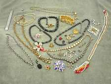 COSTUME JEWELRY LOT 34 BRACELET NECKLACE PINS BROACH EAR RING WATCH BAND ODD