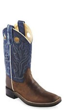 Old West Blue Childrens Boys Leather Broad Square Toe Cowboy Boots