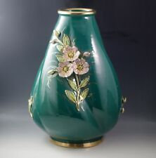 "ANTIQUE FANTECHI ITALY HUGE 14""  BARREL VASE WITH APPLIED 3D FLOWERS"