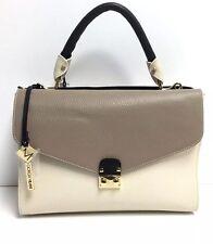 Giorgia Milani Sara 1 Pebble Leather Shoulder Bag (Stone, Cream, and Black)