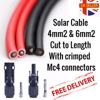 Solar Cable 4mm2+6mm2, Cut to size with mc4 connectors and crimped High quality!