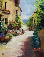 YARY DLUHOS ORIGINAL OIL PAINTING Italy Tuscan Villa Garden Chair Flower Pots