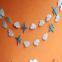 Cute Plane Cloud Bunting Banner Photography Background Baby Birthday Party Decor