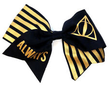 HARRY POTTER DEATHLY HALLOWS BLACK GOLD GLITTER LOGO CHEER BOW TIE HAIR CLIP