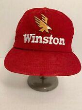 VTG WINSTON Corduroy Snapback Hat Cap EAGLE RED Tobacco Cigarettes RACING USA
