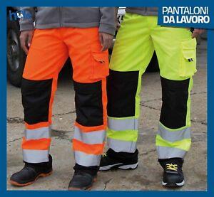 Pantaloni da Lavoro Uomo Multitasche Cargo con Tasche Laterali Alta Visibilità