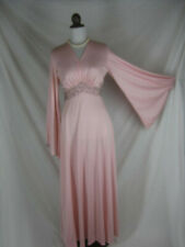 Vtg 60s 70s Designer Mike Benet Pink Angel Sleeves Womens Vintage Party Dress