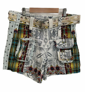 Johnny Was Tokyo Patchwork Gauze Women's Short Size 4 Cotton Belted Shorts $205