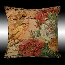 """FRENCH COLORUL BIRDS FLOWERS TAPESTRY DECO THROW PILLOW CASE CUSHION COVER 17"""""""
