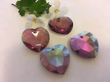 Vintage Glass Heart Pendant Amethyst AB W Germany 17mm Pack of 4 CRAFT