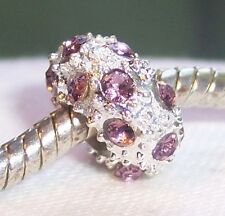 February Birthstone Purple Rhinestone Bead for Silver European Charm Bracelets