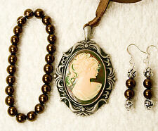 pendant bracelet earrings Silver tone jewelry set new brown green Cameo