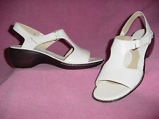"""White Leather Comfort Sandals w Side Closure """"Bermuda"""" by Foot Thrills 12M"""