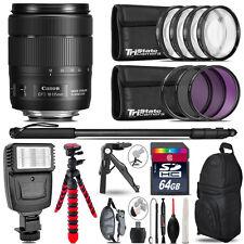 Canon 18-135mm IS USM + Slave Flash + MACRO, UV-CPL-FLD - 64GB Accessory Bundle