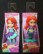 "2 Disney Princess Mini ARIEL 3"" figure glitter Mermaid tail & Feet Tiara  (AA1)"