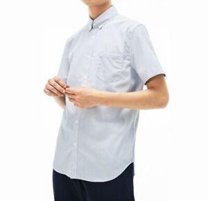 """Lacoste Men Shirt BNWT 44"""" Chest Regular Fit Short Sleeve Navy Blue White Stripe"""